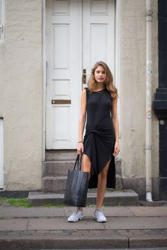 A little black dress looks just as classic with a pair of bright trainers. - HarpersBAZAAR.co.uk