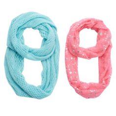 Girls+4-16+2-pk.+Printed+Foil+&+Solid+Knit+Scarves+