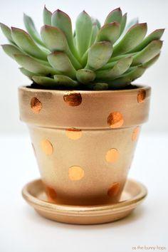 metallic polka dot flower pot