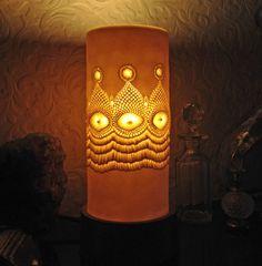 Porcelain lamp. Hygge lighting. Hand sculpted translucent