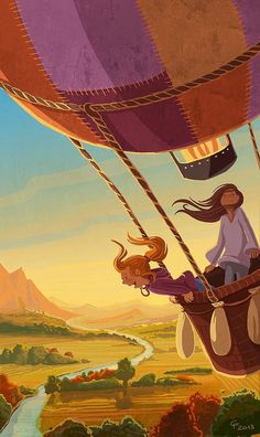 Illustrations by Cindy Fröhlich - Inspiration for my hot air balloon illustration, I love the background and use of shadows. The detail on the basket and ropes is very nice too! Art And Illustration, Illustrations Posters, Balloon Illustration, Fantasy Kunst, Fantasy Art, Cute Art, Illustrators, Concept Art, Anime Art