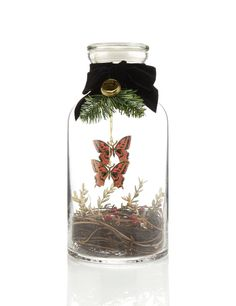 Gold Butterfly Vintage Style Apothecary Jar Christmas Room Decoration
