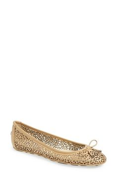"Free shipping and returns on Jimmy Choo 'Walsh' Perforated Leather Ballerina Flat (Women) at Nordstrom.com. <p><B STYLE=""COLOR:#990000"">Pre-order this style today! Add to Shopping Bag to view approximate ship date. You'll be charged only when your item ships.</b></p><br>Laser perforations kick up the casual style of an Italian-leather ballet flat detailed with a bow accent."