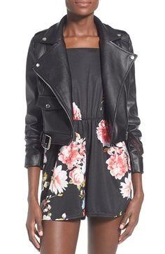 Missguided 'Zazula' Faux Leather Moto Jacket
