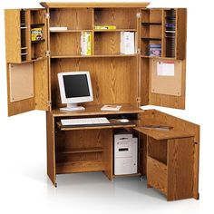 Wood Roll Top Computer Desk Armoire: 16 Appealing Computer Desk Armoire Image Ideas