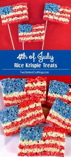 Our 4th of July Rice Krispie Treats are a fun, delicious and easy to make treat for your 4th of July party,  Memorial Day BBQ or Olympics viewing party! Pin this delicious 4th of July dessert for later and follow us for more fun 4th of July Food Ideas.