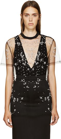Givenchy: Black Tulle Pearl Embroidered T-Shirt   SSENSE