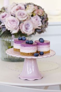 Peggy Porschen Cakes has a selection of Birthday cakes and cupcakes. Mini Desserts, Just Desserts, Purple Desserts, Colorful Desserts, Mini Cheesecakes, Individual Cheesecakes, Individual Cakes, Food Cakes, Mini Cakes