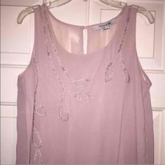 Flowy Tank Pale pink with a white beaded design. Forever 21 Tops Tank Tops