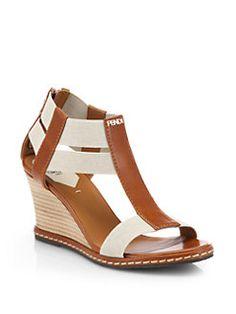 Fendi - Carioca Leather T-Strap Wedge Sandals