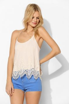 Pins And Needles Embroidered Mesh T-Strap Cami