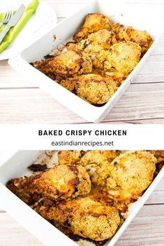 These crispy chicken are an absolute treat with kids and adults. Marinated with a spicy egg mixture then coated in breadcrumbs for a nice crisp before baked Buttermilk Crispy Chicken, Spicy Baked Chicken, Crispy Chicken Recipes, Marinated Chicken, Meat Recipes, Indian Food Recipes, Cooking Recipes, Indian Butter Chicken, Kitchen Recipes