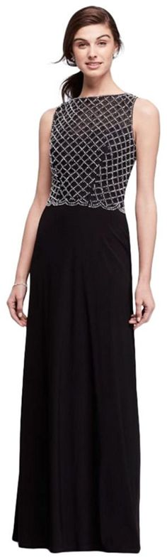 A flowy skirt makes this long jersey dress easy to wear, while the caviar-beaded bodice brings the glamour. By Cachet Polyester, spandex Back zipper; Formal Evening Dresses, Evening Gowns, Evening Party, Mother Of The Groom Gowns, Bride Groom Dress, Bride Dresses, Special Occasion Dresses, Designer Dresses, Dress Outfits
