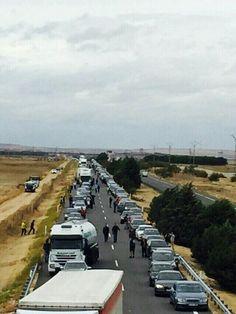 #Valladolid Colisión múltiple con más de 30 vehículos implicados en la A-6 Pk. 149 cerca de Medina del Campo.  Sentido #Madrid