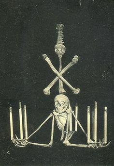 Skull and Bone Chandelier in Cabaret Neant, Paris - Vintage Postcard