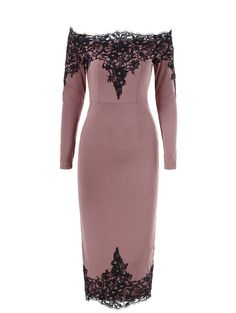 Lace Trim Off The Shoulder Pencil Dress in Peony Pink | Sammydress.com