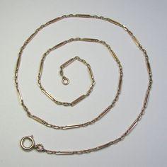 Laura's lifeintheknife on Ruby Lane: Antique Edwardian 14K Rose Gold Ornate Link Necklace Chain - 9 Grams