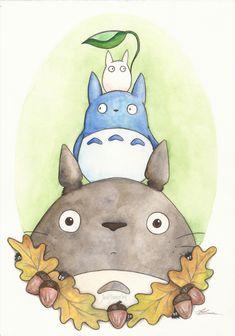 'Totoro and Friends' by JadeJonesArt. Watercolour, pencil and acrylic painting inspired by Studio Ghibli's movie 'My Neighbour Totoro'. http://www.etsy.com/uk/shop/JadeJonesArt