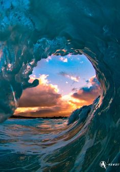 A wave captured off the north coast of Oahu. My husband was stationed in Hawaii on the island of Oahu, so this photo holds something special for us. We would purchase an extra large print for the bathroom wall. Ocean Sunset, Ocean Beach, Ocean Waves, The Ocean, Blue Sunset, Waves Photography, Landscape Photography, Nature Photography, Beautiful Ocean