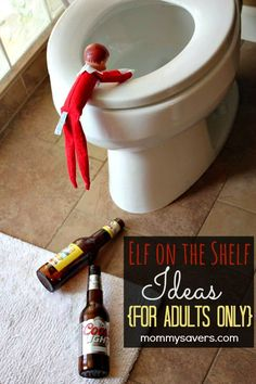 Elf on the Shelf Ideas for ADULTS ONLY.  Oh, what a naughty elf!  #ElfontheShelf #ElfontheShelfIdeas