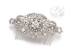 Wedding Hair Comb Rhinestone Hair comb Bridal by PureRainDesigns