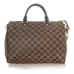 Louis Vuitton Damier Canvas Speedy 30 Handbag (165 CAD) ❤ liked on Polyvore featuring bags, handbags, louis vuitton, borse, purses, brown bag, louis vuitton bags, canvas handbags and canvas purse