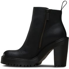 Dr. Martens Leather Magdalena Heeled Boots (210 AUD) ❤ liked on Polyvore featuring shoes, boots, ankle booties, platform heel boots, distressed leather booties, leather ankle boots, high heel booties and leather boots