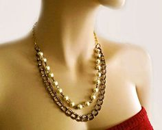 Cream Pearl Crystal Antiqued Brass by PearlJewelryNecklace on Etsy, $28.00