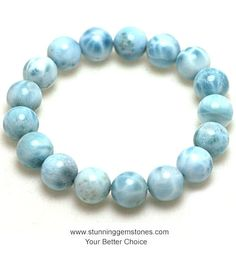 Natural Larimar Round Beads 8mm A Grade by gembeadswholesale
