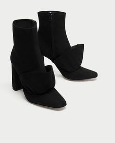 Image 1 of RUFFLED HIGH HEEL LEATHER ANKLE BOOTS from Zara