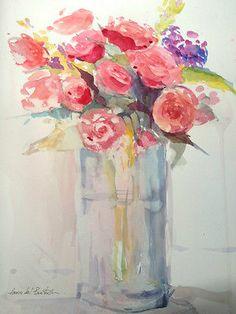 Original Watercolour Painting - Red Roses - Signed Annabel Burton | eBay