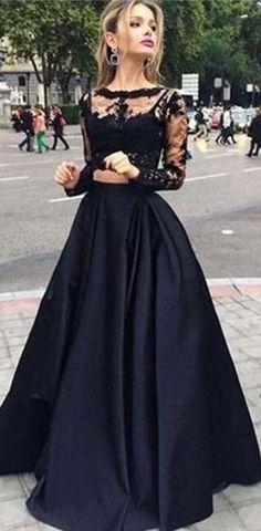 934263bce9b Long Black Lace Long Sleeve Elegant Custom Party Evening Prom Dresses