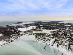 Dering Harbor Co. Shelter Island Aerial Photograph - Frozen Dering Harbor and Sylvester Manor