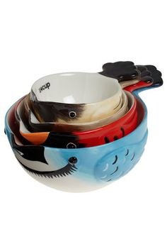birds of a flavor. measuring cups. I LOVE THESE. a blue jay, a cardinal, a sparrow, and a chickadee. just gorgeous. $39.