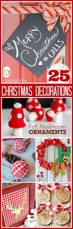 I love Christmas Decorations, I love the sparkle of Christmas lights, the beautiful Christmas Trees and festive decorated mantels. Diy Christmas Decorations, Holiday Crafts, Holiday Fun, Noel Christmas, Winter Christmas, All Things Christmas, Christmas Lights, Christmas Ornaments, Xmas