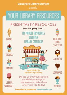 This is our 2013/14 Resources poster. We're taking forward our 'carry your library with you' theme and developing it to incorporate tailored resource goodies for our different customer types. We hope you like it!