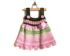Knitted Baby Girl Dress Knit Pinafore Hand Knitted Jumper Dress Winter Baby Girl Fashion - Pink and Green, 1 - 2 years by SasasHandcrafts on Etsy https://www.etsy.com/listing/252963811/knitted-baby-girl-dress-knit-pinafore