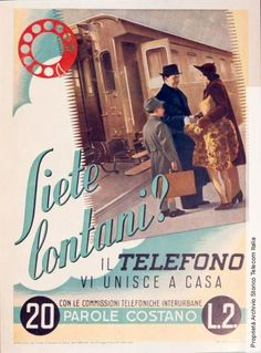 """""""Siete lontani?il #telefono vi unisce a casa"""", campagna pubblicitaria del Gruppo #Stet, 1941 - """"Are you far from your parents? The #telephone connects you"""", Stet Group #adv campain, 1941 #vintage #advertising"""