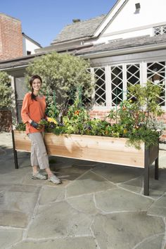 A grandmother living with dogs and toddlers appreciate a raised planter. Boxes: Standing Height Cedar Raised Garden | Gardener's Supply