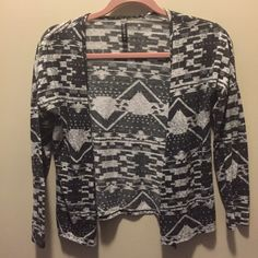 Tribal Print Cardigan Fly away style cardigan with black/gray and white pattern. Very gently used. Tilly's Sweaters Cardigans