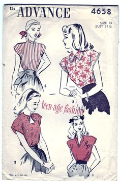 FREE SHIPPING Vintage 1947 Advance 4658 Sewing Pattern Teen's Blouse with Neckline Variations Size 14 Bust 31-1/2