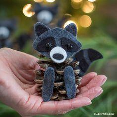 Felt Pinecone Raccoons