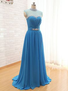 2016 Long Sky Blue Prom Gowns Beaded Neckline Sleeveless Chiffon Evening Dresses With Short Train - Formal Gowns