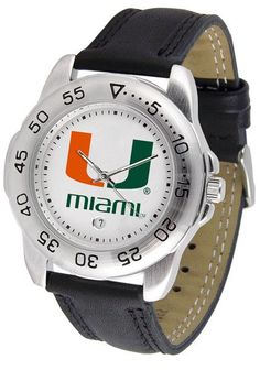 Miami Hurricanes Men Sport Watch With Leather Band