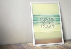 Take Me To The Ocean Glow Large Poster - Green White Yellow - Living, Bedroom, Bathroom - Large Art Print - Large Wall Decor - Beach House