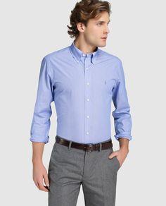 Camisa de hombre Polo Ralph Lauren regular lisa azul · Polo Ralph Lauren · Moda · El Corte Inglés