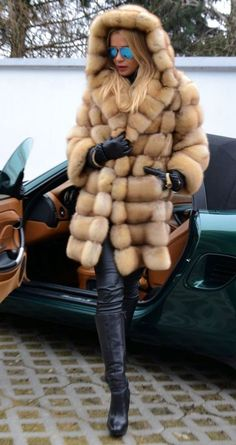 golden sable fur parka
