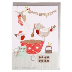 Robins baking mince pies Christmas card