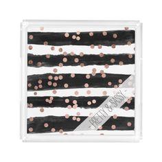 Modern rose gold confetti black watercolor stripes serving tray