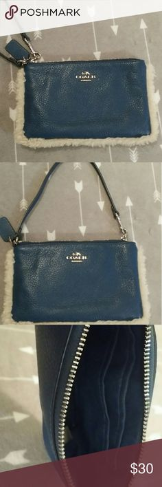 Authentic Coach wristlet Navy blue leather - gently used Coach Bags Clutches & Wristlets